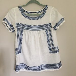 Madewell RARE Linen Folktale Embroidered Top